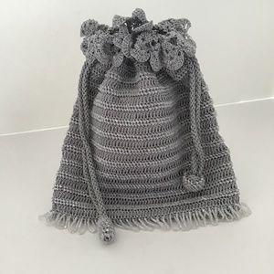 Handbags - SILVER CROCHET BOHO EVENING BAG DRAWSTRING PURSE